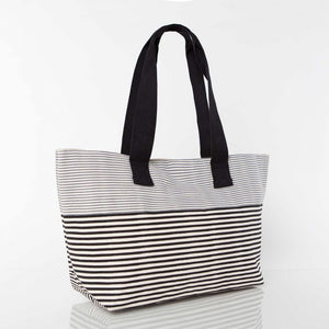 Monograms - Black and Grey Large Beach Tote