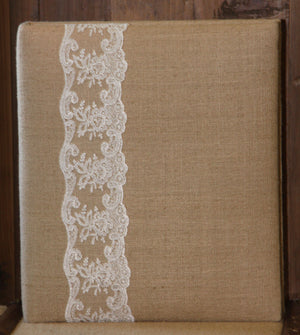 Jan Sevadjian: Natural Linen with Chantilly Lace Wedding Album