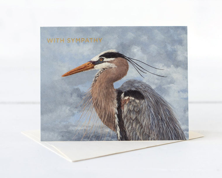 Hester & Cook: GREETING CARD SYMPATHY HERON
