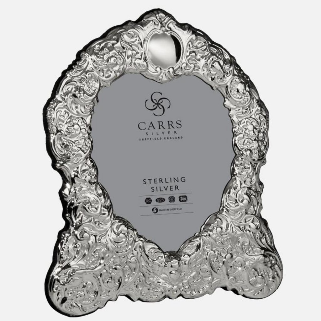 Carrs Silver - Traditional Sterling Silver Heart Photo Frame Grey Velvet Back