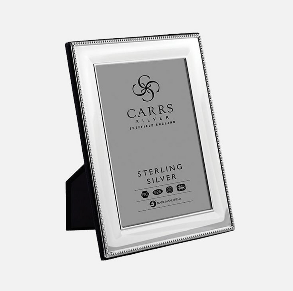 Carrs Silver - Classic Beaded Sterling Silver Photo Frame With Wood Back