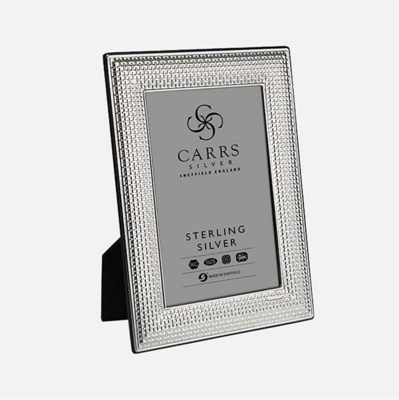 Carrs Silver - Cross Stitch Sterling Silver Photo Frame With Black Wood Back