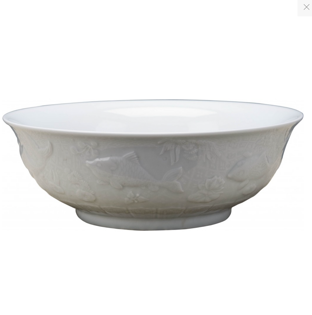 Classic Porcelain - WHITE Celedon Bowl With Fish