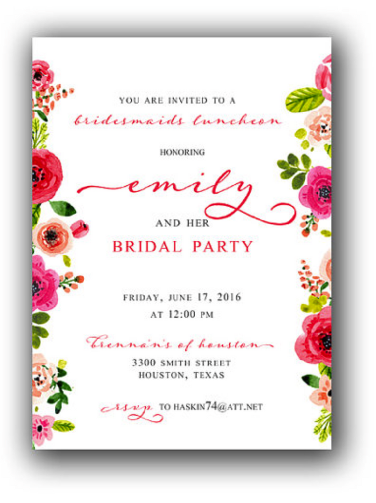 Invitation: Bridesmaids Luncheon Floral