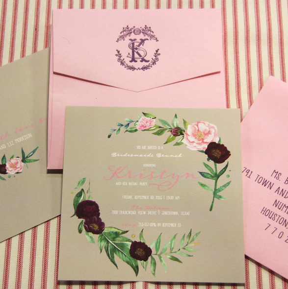 Invitation: Bridesmaids Luncheon Botanical Square
