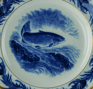 Antiques - Gilt Edged Cauldon English Flow Blue Fish Plates and Platter