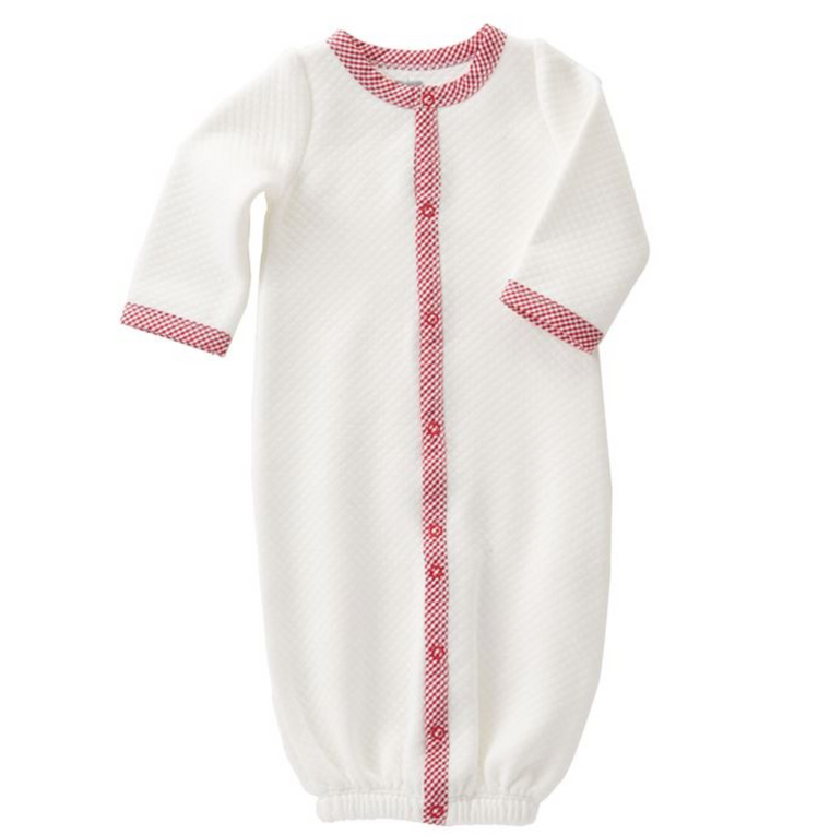 MUD PIE- QUILTED RED GINGHAM SLEEPING GOWN