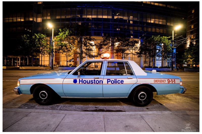 """Iconic Houston"" by Jeffrey Chen: 1986 Love Ya Blue Police Car"