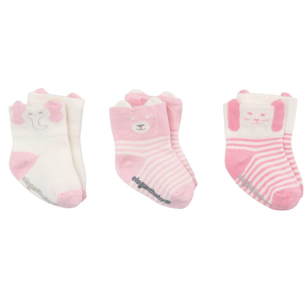 Elegant Baby - Organic Animal Baby Socks Girls 3 Pack