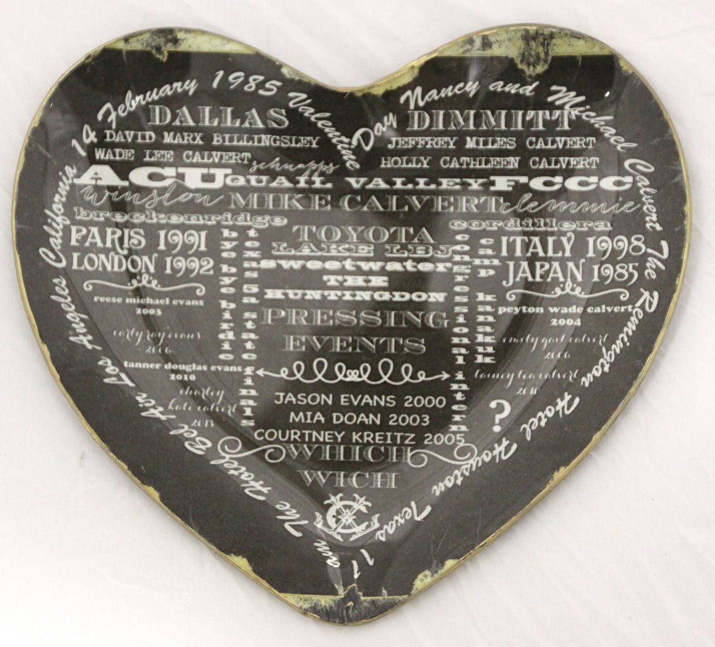 Heart Plate telling the story of US