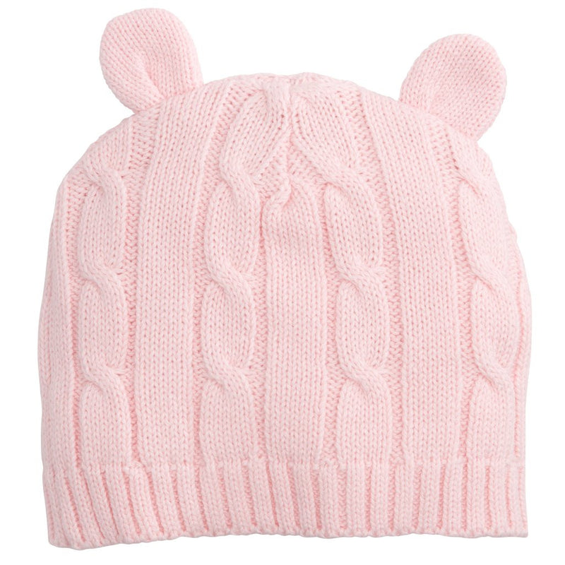 Elegant Baby - Classic Cable Hat Ears Pink 0-12M