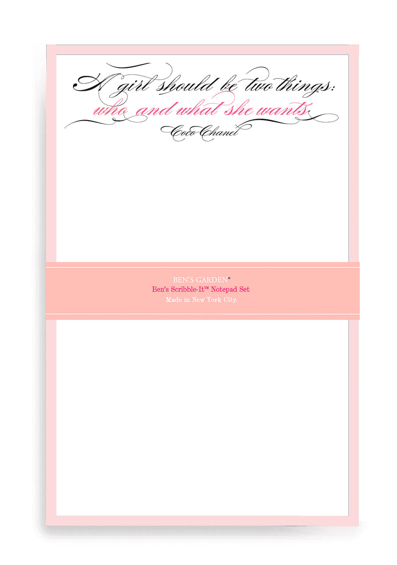 Ben's Garden -Coco Chanel A girl Should Be Two Things Notepads Set of 2