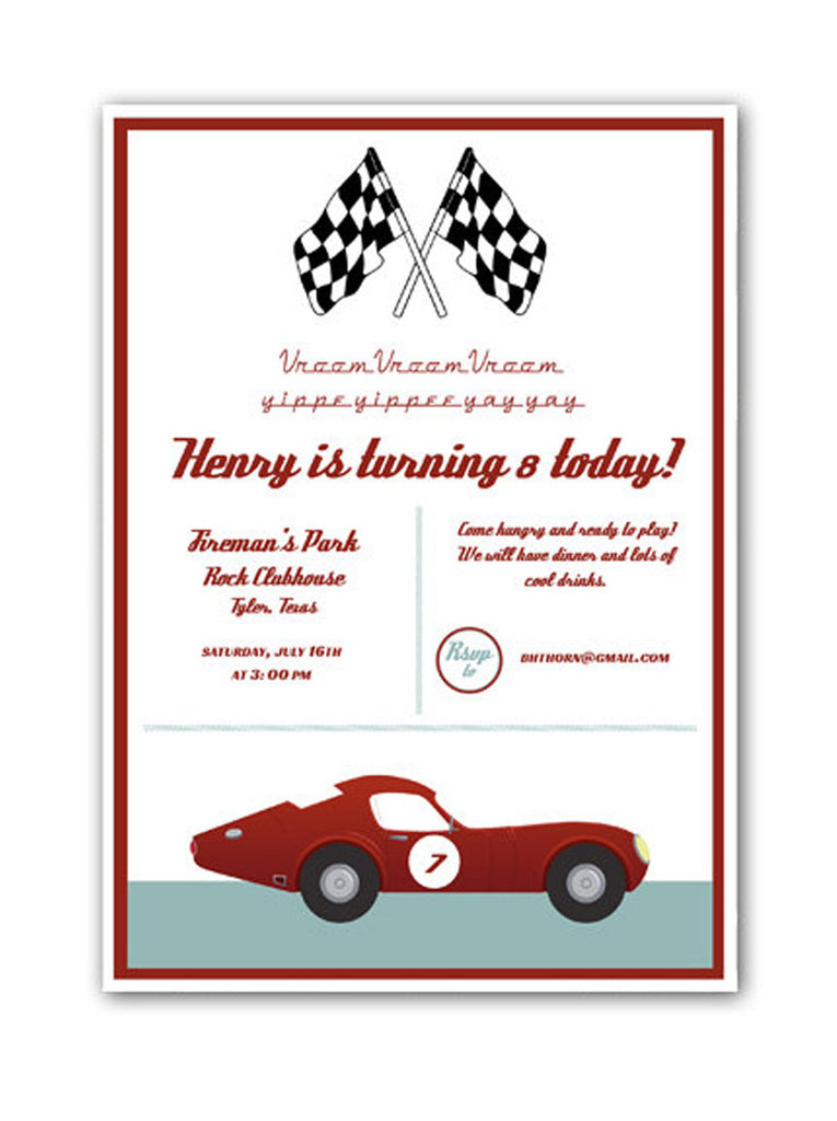 Invitation: Vintage Racing Birthday