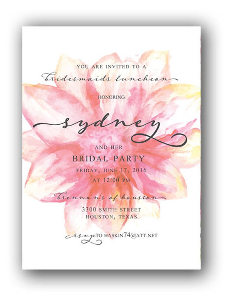 Invitation: Water Colored Floral Bridesmaids Luncheon