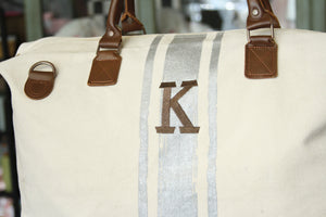 Monograms - Brushed Canvas Weekender With Silver Paintstroke Stripes