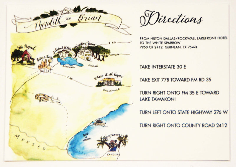 Meredith Hand Illustrated Map/Direction Card