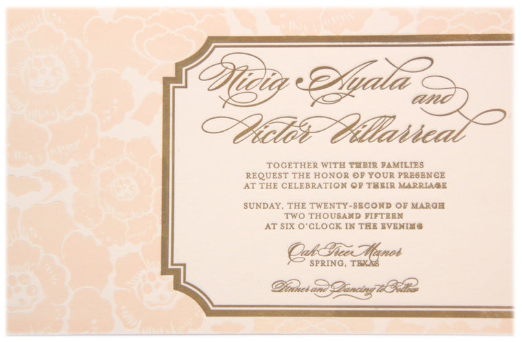 Au Couture: Nidia Letterpress Invitation Card