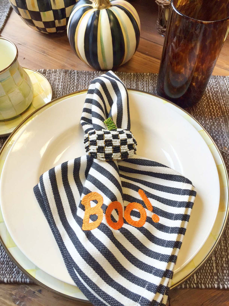 Monograms - Black Petite Stripe Napkin