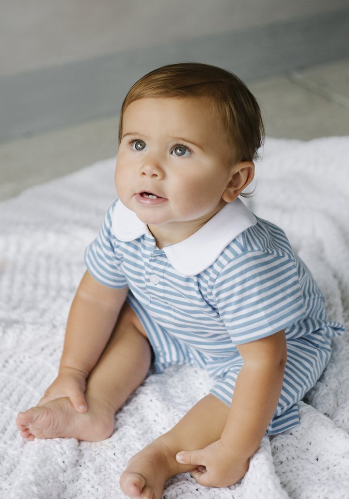 Little English - Peter Pan Romper Blue