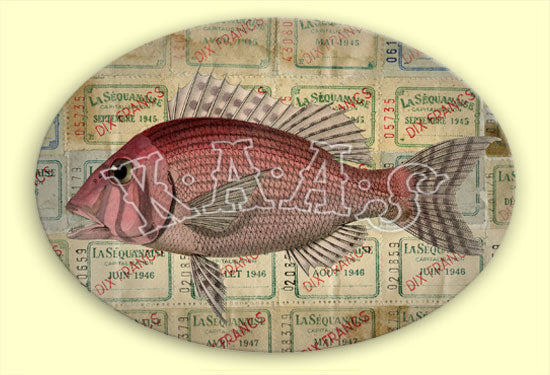 Kaas Glasswork 12x9 Oval Pink Fish Decoupage Plate