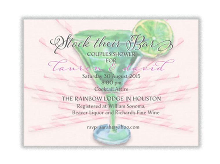 Invitation: Stock the Bar Couples Shower - Martini