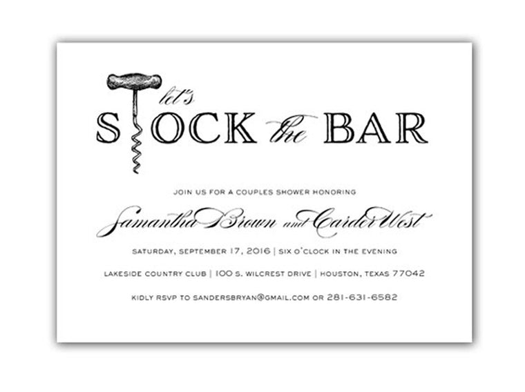 Invitation: Stock the Bar Couples Shower - Corkscrew