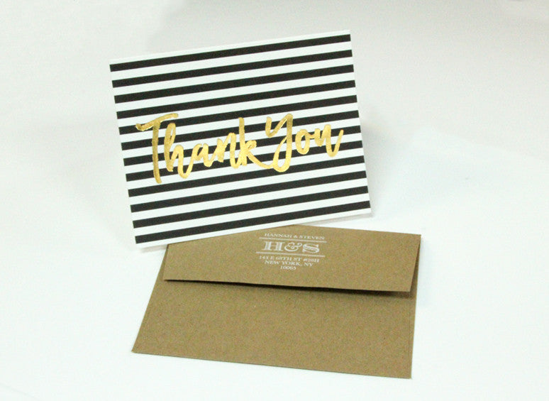 Stationery: Thank You Gold Foil Cards