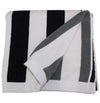 BEACH FUN: Beach Towel Reversible Black and Grey Stripes