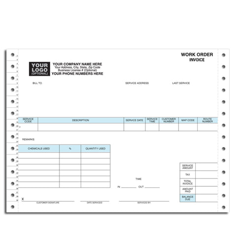 Continuous pest control work order form 12229A 2-part