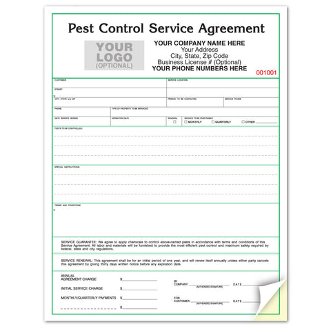 Standard Green Border Pest Control Service Agreement PCCC-882 192