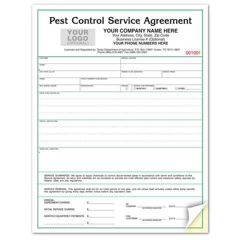 Pest Control Service Contract / Agreement for Texas