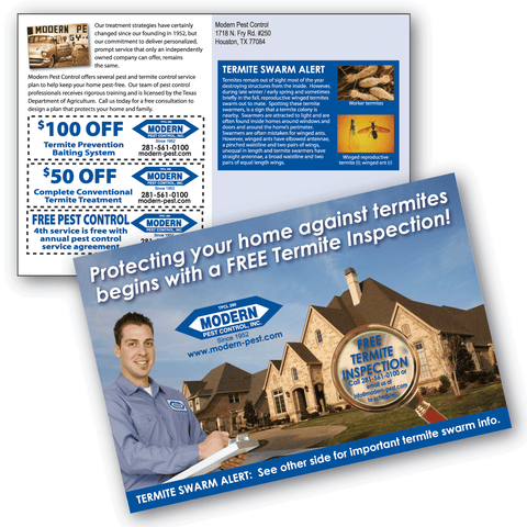 6x9 pest control marketing postcards termite post card