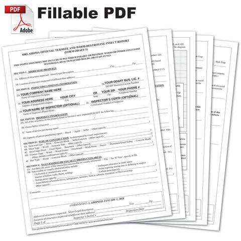 fillable Oklahoma ODAFF-1 WDI form