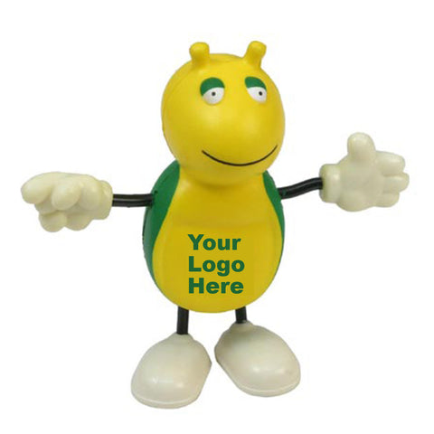 cute green yellow and white bug stress reliever logo imprint LCH-CB03