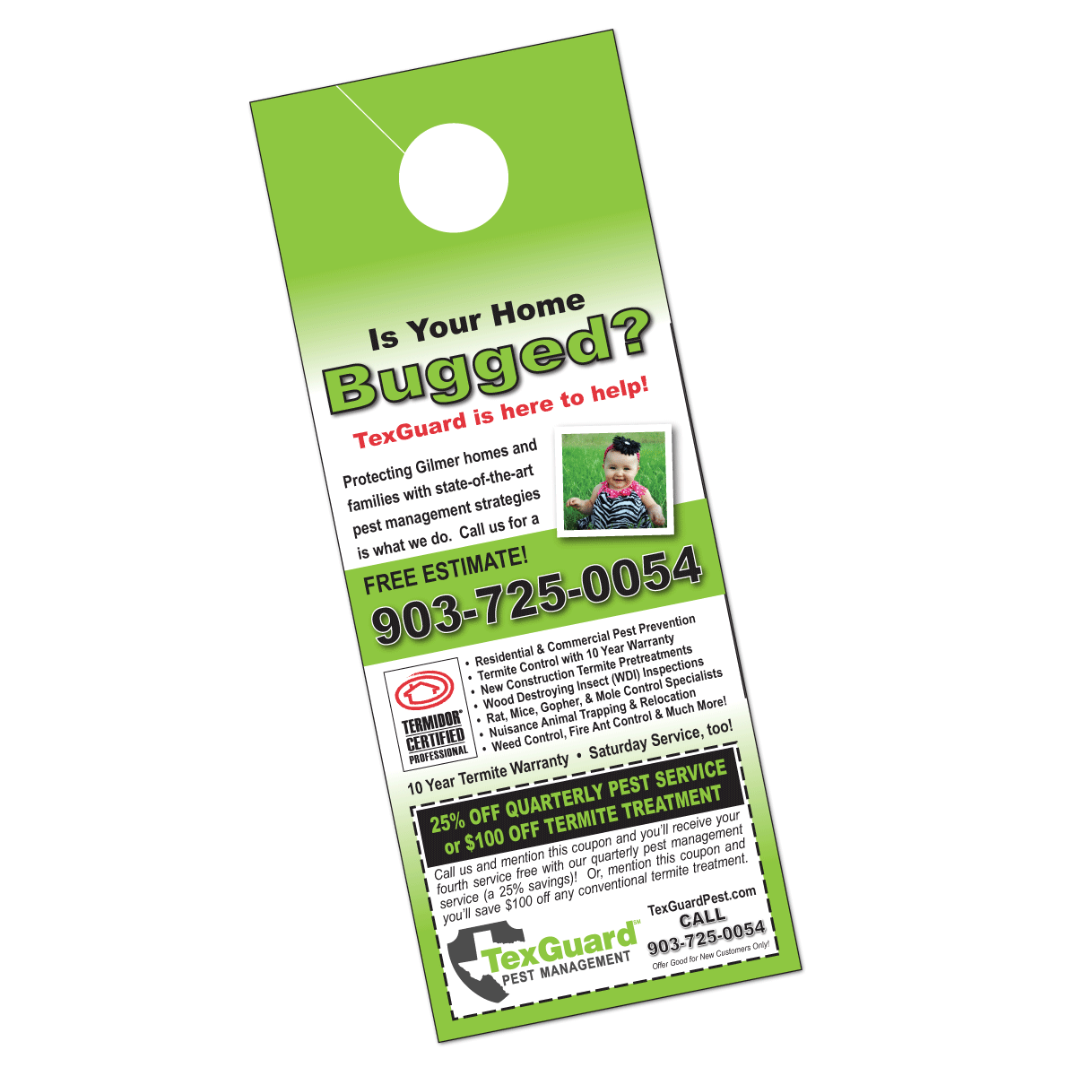 Pest Control Door Hanger Design