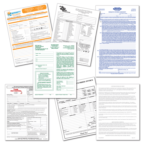 pest control business form design typeset