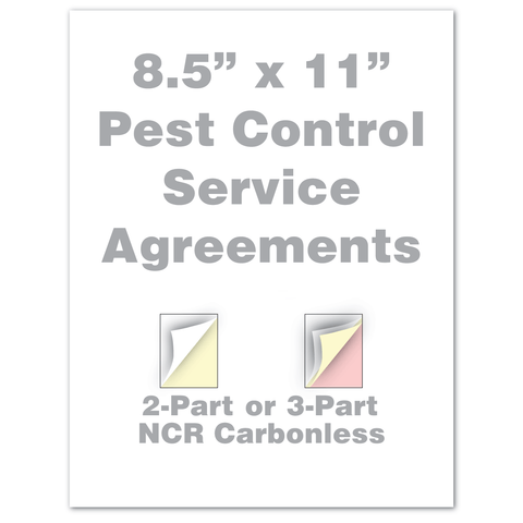 "Pest Control Service Agreements custom 8.5"" x 11"" 2 Part 3 Part"