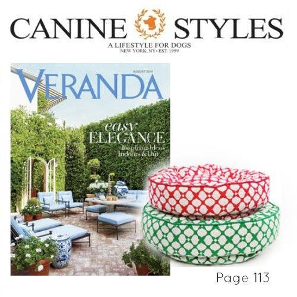Veranda features Canine Styles beds in their August edition.