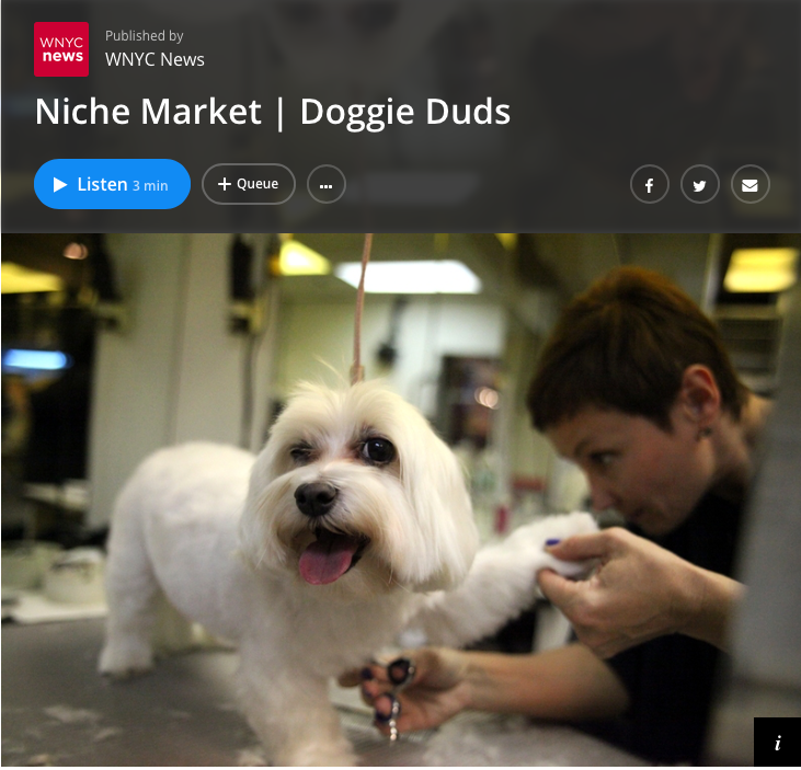 6/12 - WNYC News Names Canine Styles as the Go-to Groomers for Dogs with Pizzazz!