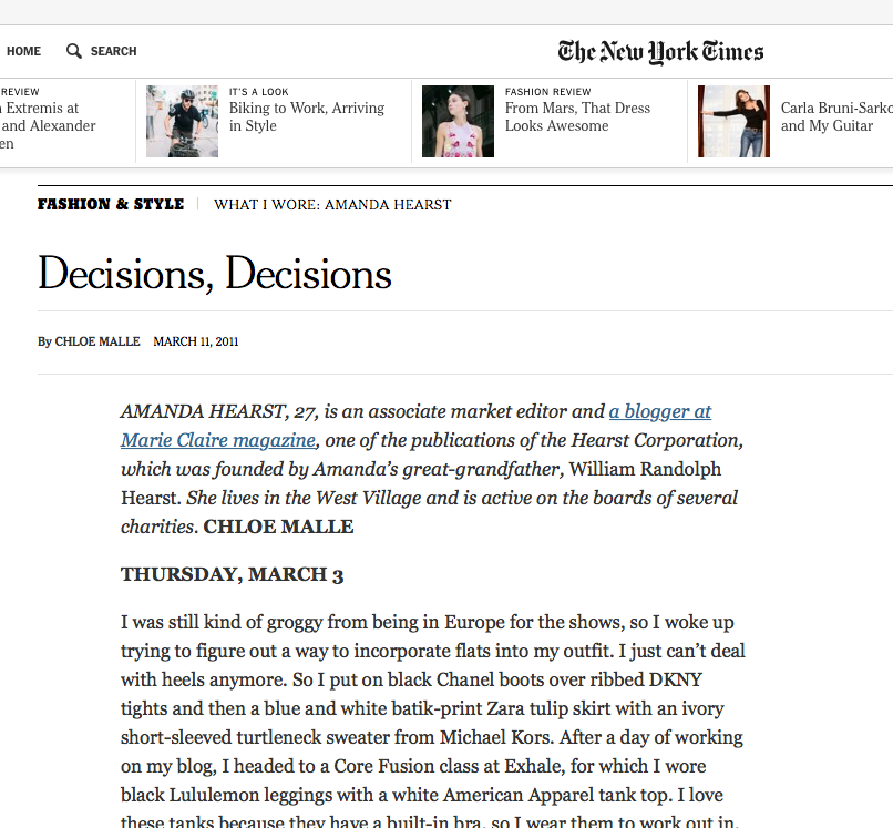 "3/11 Amanda Hearst Writes, ""Decisions, Decisions""  while Mentioning CS Red Parka in The NYTimes.com"