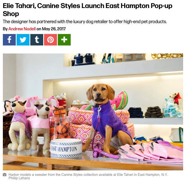 05/17 - WWD Checks Out The Elie Tahari x Canine Styles Launch East Hampton Pop-up Shop
