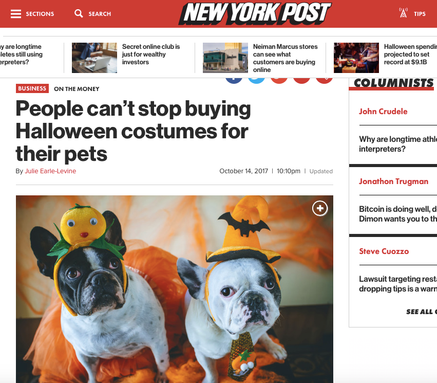 "New York Post Announces "" People can't stop buying Halloween costumes for their pets"""