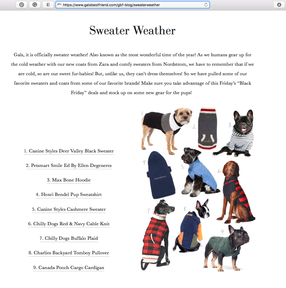 GalsBestFriend.com names Canine Styles best Sweater Weather