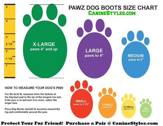 Dog Booties Guide Dog Boot Size Chart Canine Styles