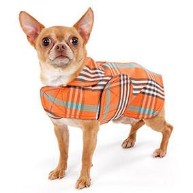 Canine Styles Dog Coat - Raincoat Waxed, Orange Plaid
