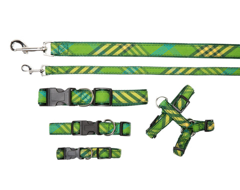 Signature Plaid Collection - Dog Collar, Harnesses, & Leads - Green Plaid
