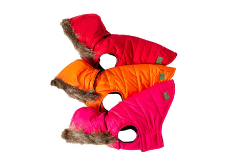 Red or Pink Puffer coats