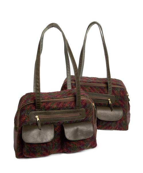 Dog Carrier - Green/Burgundy Mohair Multi Color