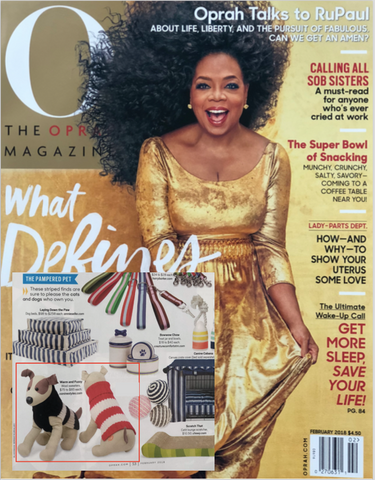Canine Styles' Wool Sweaters feature in 'The Pampered Pet' section of O, The Oprah Magazine