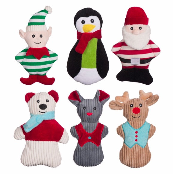 Holiday Dog Toys - Santa, Elf, Mouse, Reindeer, Polar Bear and Penguin